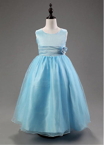 Gorgeous Organza & Satin Scoop Neckline Ball Gown Flower Girl Dresses With Handmade Flowers