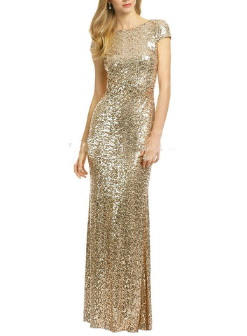 Gold Sequins Wedding Party Gowns
