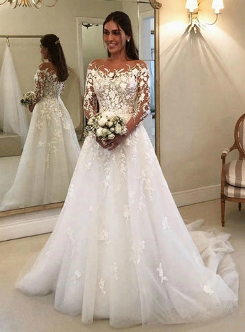 Tulle Long Sleeve Appliques A-Line White Wedding Dress