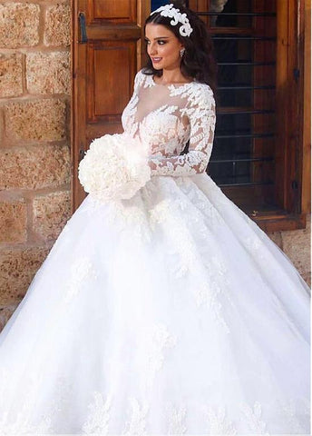 Lace Appliques Tulle Bateau Long Sleeve Ball Gown Wedding Dress