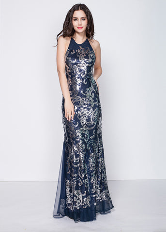 Marvelous Sequins Halter Neckline Sheath Evening Dress