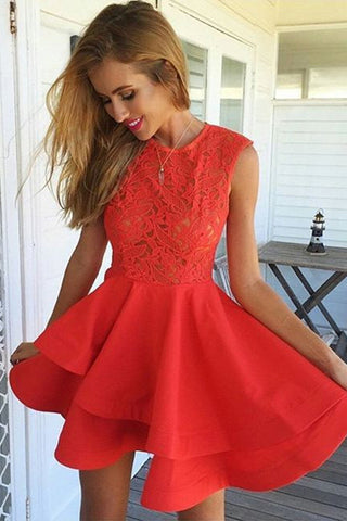 Red Tiered Red Short Homecoming Dress
