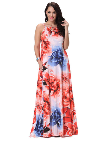 Red Printed Strap Sleeveless Bohemian Beach Maxi Dress