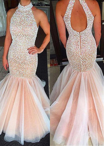 Delicate Tulle Mermaid Evening Dresses With Beadings