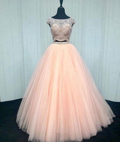 Pink Two Pieces Beads Tulle Long Prom Dress