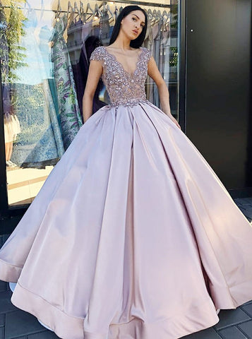 Ball Gown V-Neck Blush Satin Quinceanera Dress with Lace Beading