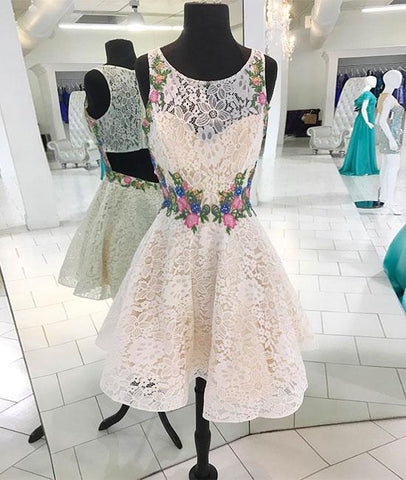 Pretty WHITE ROUND NECK LACE SHORT PROM DRESS