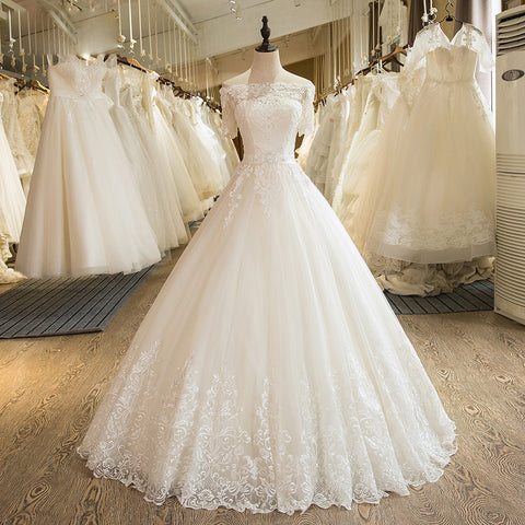 Short Sleeve Tulle Lace Wedding Dress