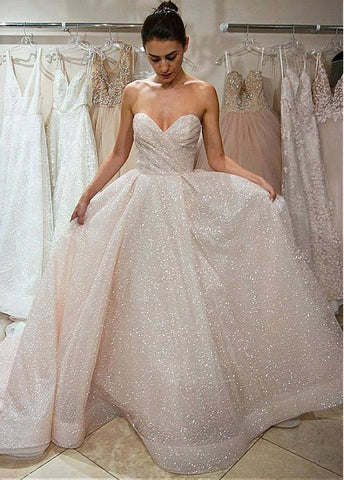 Beautiful Spray Gold Net Sweetheart A-line Wedding Dress