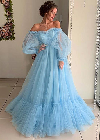 Tulle Off-the-shoulder Blue A-line Prom Dresses With Lace Appliques
