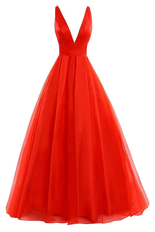 Red V Neck Backless Prom Dresses Long 2017 Evening Party Ball Gown