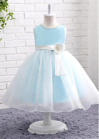 Elegant Satin & Organza Jewel Neckline Ball Gown Flower Girl Dresses With Handmade Flower & Pearls