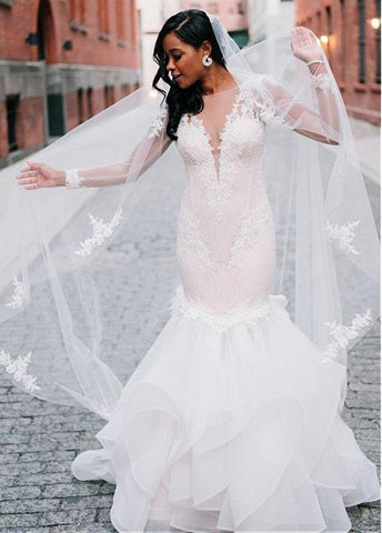 Long Sleeves Tulle Bateau Mermaid Wedding Dress With Lace Appliques