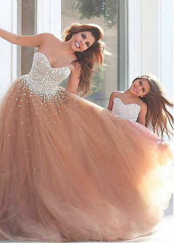Tulle Sweetheart Neckline Ball Gown Evening/ Mother and Daughter Dress With Beadings