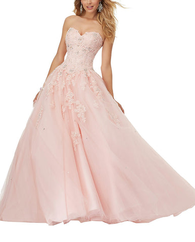 Lace Applique Floor Length Tulle Ball Gown Quinceanera Dress