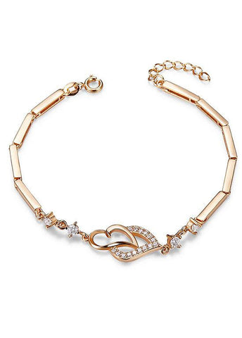 8K Gold Plated Bracelet, Micro Pave AAA Zirconia Double Hearts, Golden, 190mm