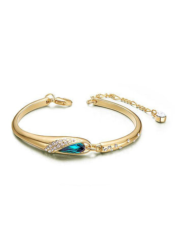 Micro Pave Zirconia Wing with Sky Blue Austrian Crystal Bracelet