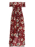 Floral Off Shoulder Shirred Asymmetric Maxi Dress