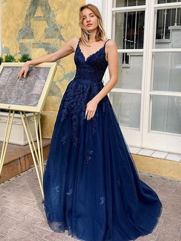 A Line V Neck Backless Sexy Navy Blue Lace Long Prom Dress