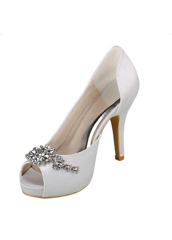 Chic Satin Stiletto Heels Bridal Shoes With Rhinestones