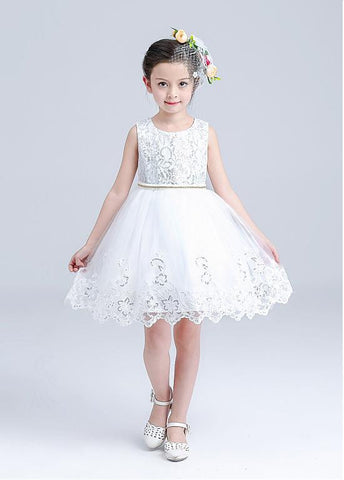 Sparkling Sequin Lace & Tulle Scoop Neckline Ball Gown Flower Girl Dresses With Bowknot