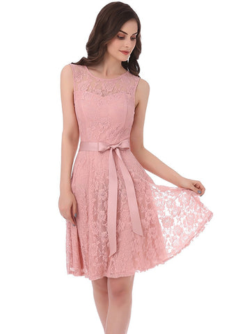 Pink Floral Lace Dress Short Bridesmaid Dresses with Sheer Neckline