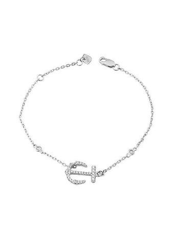 Fashion CZ Anchor Thin Chain Bracelet