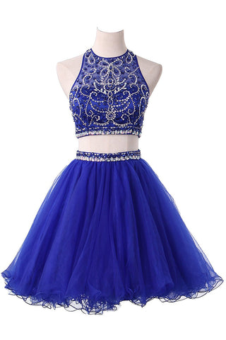 Halter Homecoming Dresses Two Pieces Beaded Bodice Short Prom Dresses