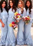 Marvelous Chiffon Jewel Neckline Mermaid Bridesmaid Dresses With Lace Appliques