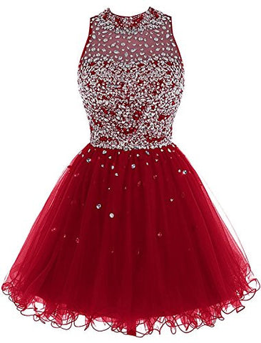 Short Prom Dresses A Line High Neck Tulle Homecoming Dresses