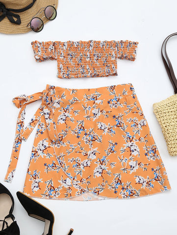 Floral Print Crop Top and Skirt Set Orange