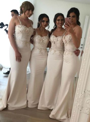 Appliques Champagne Satin Spaghetti Straps Mermaid Bridesmaid Dress