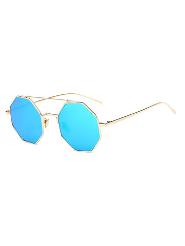 Crossbar Polygonal Metal Mirrored Sunglasses