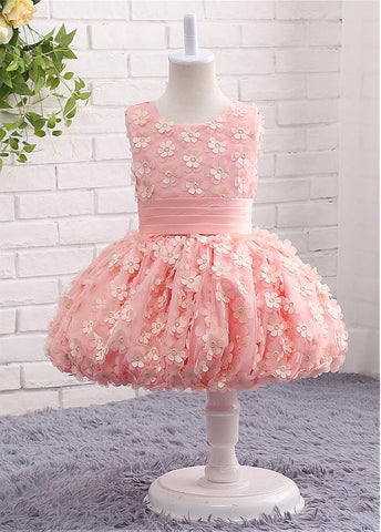 Fancy Tulle Scoop Flower Girl Dresses With Flowers