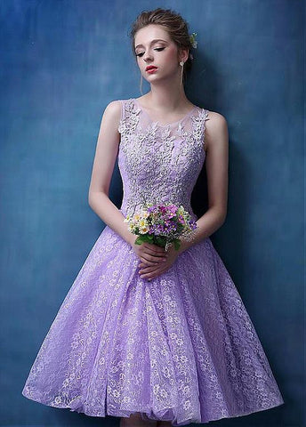 Marvelous Lace Scoop Neckline A-Line Homecoming Dresses With Lace Appliques