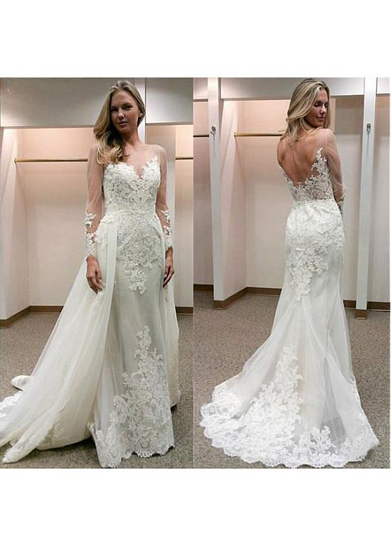 Tulle Bateau Neckline 2 In 1 Wedding Dress With Lace Appliques