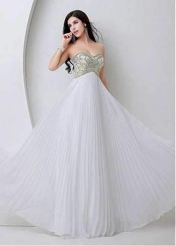 White Bling Tulle Sweetheart Necklien A-Line Prom Dresses With Beadings