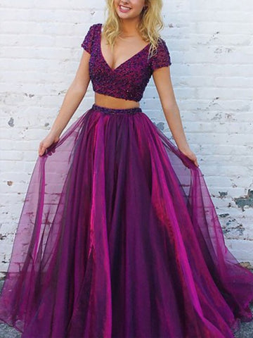 Fuchsia Short Sleeve Beading Tulle Two Piece Dresses