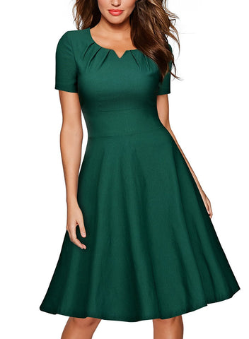 Women's Retro 1950s Short Sleeve A-Line Cocktail Party Swing Dress