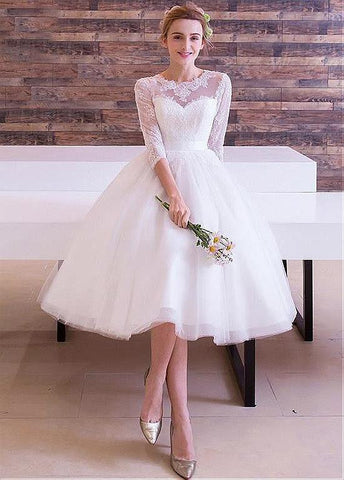 Wonderful Tulle Jewel Neckline Tea-length A-line Wedding Dresses With Lace Appliques