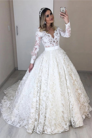 Lace V Neck Sheer Back A Line Long Sleeve Wedding Dress