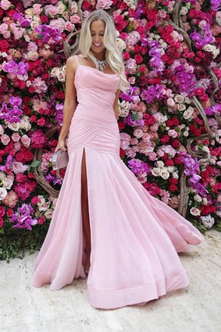 Pleats Mermaid Spaghetti Straps Pink Prom Dress With Slit