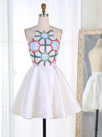 White Short Flowers Embroidery Homecoming Dress