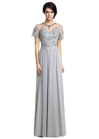 Fantastic Chiffon Sheer Jewel Neckline Floor-length A-line Evening Dresses With Lace Appliques