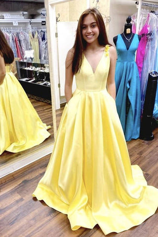 Yellow Satin V Neck Beautiful Appliques Long Prom Dress