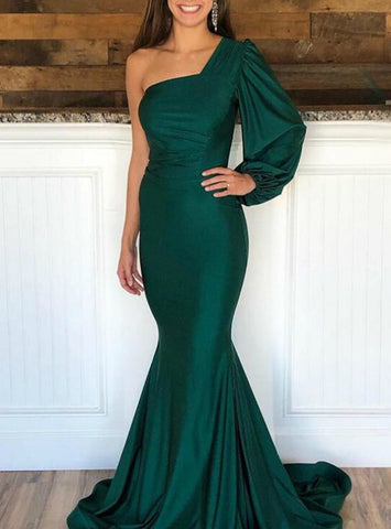 Long Sleeve Green One Shoulder Mermaid Satin Prom Dress