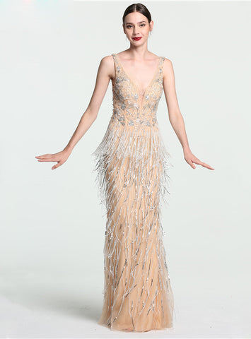 Sexy Deep-V Mermaid Gold Tulle Prom Dress