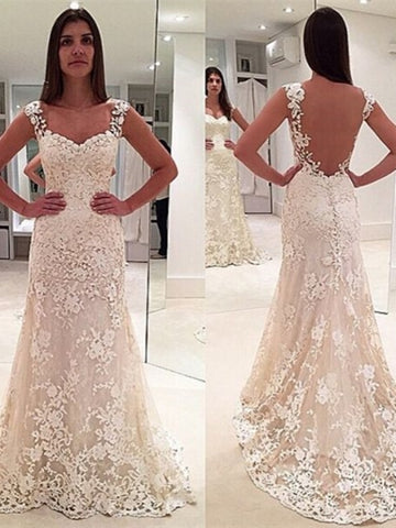 Straps Lace Sheath Court Train Wedding Dress
