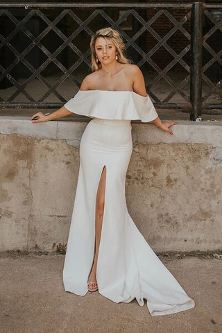 Off the Shoulder Satin Sexy Mermaid Wedding Dress with Slit
