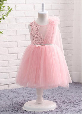 Lovely Tulle Jewel Neckline Ball Gown Flower Girl Dresses With Lace Appliques & Belt